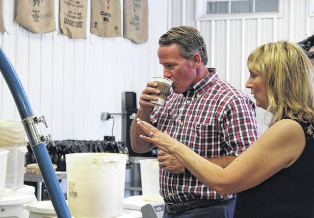 Ohio Lt. Governor Jon Husted (R) traveled to Southeast Ohio on Thursday, including stops in Gallia and Jackson counties. Husted is pictured touring the Silver Bridge Coffee Company facility in Bidwell with Lorraine Walker, president of the company. Silver Bridge Coffee, established in 2008, expanded operations last fall despite the pandemic. As previously reported, the company worked with the JobsOhio-OhioSE team, securing a JobsOhio Inclusion Grant to assist with this goal. Husted also visited the University of Rio Grande's Jackson Center which partnered with Wellston High School, for a tour of a manufacturing class. More on Husted's visit to Silver Bridge Coffee in an upcoming edition.