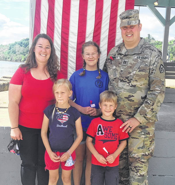 Captain Chip Bennett was joined by his wife Gabby, daughters Evelyn and Karyn, and son Ira for Monday's Memorial Day ceremony.