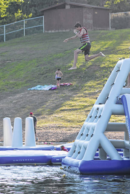 The Aqua Park offers a variety of areas to climb, jump and slide.