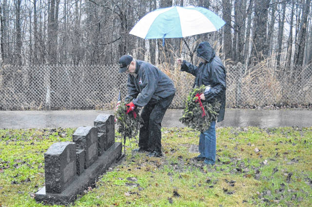Visitors leave wreathes on the graves of deceased veterans in Tyn Rhos Cemetery during a prior observance of Wreaths Across America in Gallia County.