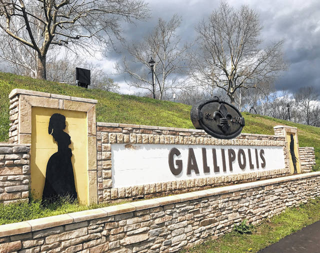 """Pictured is the """"Gallipolis"""" sign greeting visitors in the Public Use Area along the Ohio River in downtown."""