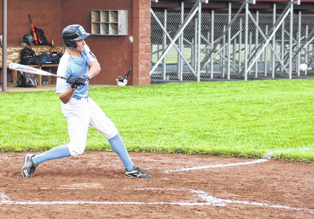 Conner Ridenour offers at a pitch during Post 39's 3-2 victory over Post 81, on Tuesday in Rocksprings, Ohio.