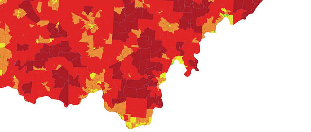 The map of southern Ohio shows the level of Broadband Internet access in the area. Dark red is 0-10 Mbps; red-orange is 10-25 Mbps; orange is 25-50 Mbps; yellow is 50-100 Mbps; and green is 100-plus Mbps.