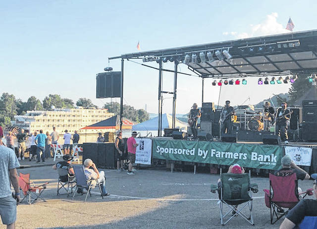 Enjoying a previous Big Bend Blues Bash along the Ohio River in the Pomeroy parking lot.