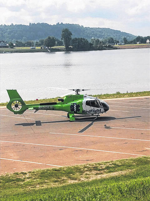 This air medical helicopter lands in the Gallipolis Public Use area on Friday morning, reportedly for a patient who was injured in an alleged shooting incident.