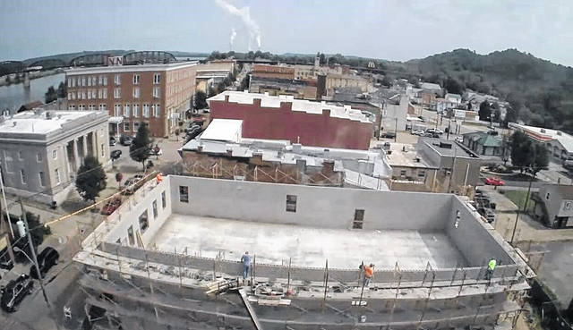 This drone shot taken high above Main Street last week, shows construction progress on the new Point Pleasant River Museum and Lakin Ray Learning Center.
