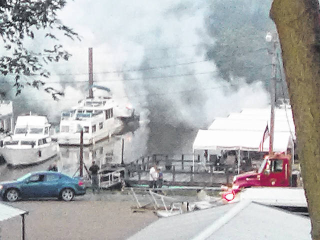The Gallipolis Fire Department responded to a fire call involving four boats on Friday morning at the Gallipolis Boat Club.