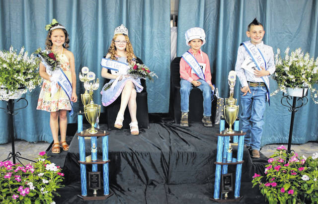 Pictured sitting are this year's Little Miss Gallia County Keely Pishner and Little Mister Gallia County Thomas Cummons. Also making up the junior royal court, pictured standing, are Little Miss Runner-up Jadah Justice and Little Mister Runner-up Mason Fellure.