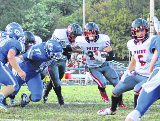 Pictured is a scene from the 2019 contest between the Gallia Academy Blue Devils and PPHS Big Blacks — the Blue Devils outlasted their rivals that year, 14-13. The two teams meet again next week with PPHS celebrating 100 years of football.