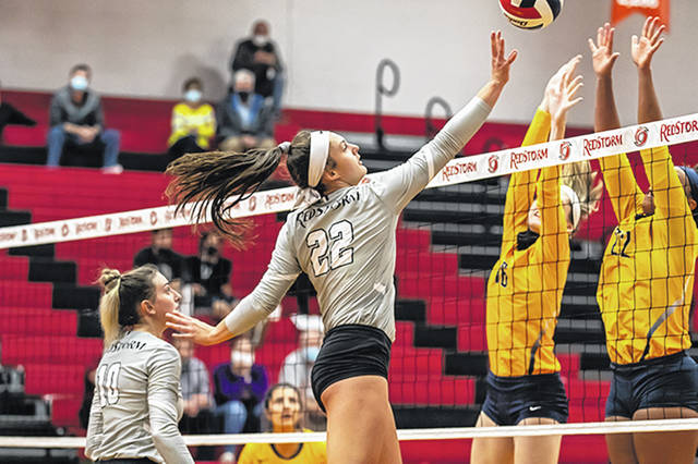 Rio Grande's Jess Youse sends a ball back over the net during a match with West Virginia University-Tech last season. Youse and the rest of the RedStorm have been picked sixth in the River States Conference preseason volleyball coaches' poll.