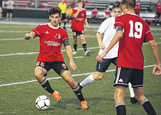 Point Pleasant senior Cael McCutcheon (25) controls a pass during the second half of Wednesday night's boys soccer match against Parkersburg South at OVB Field in Point Pleasant, W.Va.