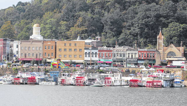 Sternwheelers and smaller boats lined the river front area in downtown Pomeroy during a previous Pomeroy Sternwheel Regatta.