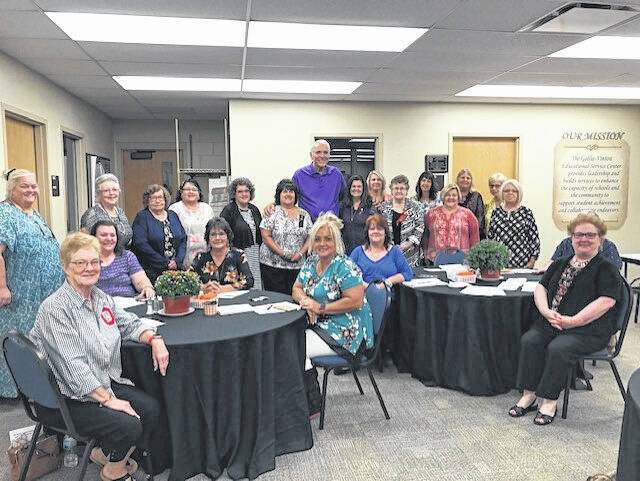 Pictured is Jerry Lucas, back row at center, following his presentation to the Beta Alpha Chapter of Delta Kappa Gamma members.