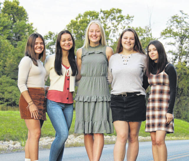 Pictured are RVHS Homecoming Queen Candidates, from left, Lauren Twyman, Leah Roberts, Kate Nutter, Makensey Lemley, Zoe Taylor. The queen will be crowned during the pre-game homecoming festivities this Friday.