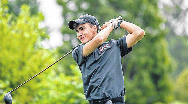 University of Rio Grande sophomore Whit Byrd watches a drive during an undated golf match.