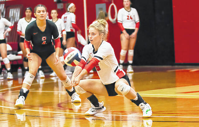 Rio Grande's Lauren Jolly goes down for a dig during Tuesday night's 3-1 loss to West Virginia University-Tech at the Newt Oliver Arena. The loss snapped the RedStorm's four-match winning streak.