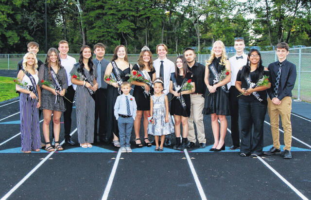 Pictured back row, from left, Freshman Representative Haylee Eblin with Hunter Eblin, Junior Representative Riley Bradley with Kade Alderman, Senior Queen Candidate Leah Roberts with Braydon Parsons, Senior Queen Candidate Makensey Lemley, 2021 Homecoming Queen Lauren Twyman with Mason Rhodes, Senior Queen Candidate Zoe Taylor with Taylor Warren, Senior Queen Candidate Kate Nutter with Riley Wooldridge, Sophomore Representative Abigail Siciliano with Aydan Wells. Pictured front row, Little Mr. and Little Miss River Valley, respectively, Ethan Smith and Aubrey Allen. Not pictured Riley Evans.