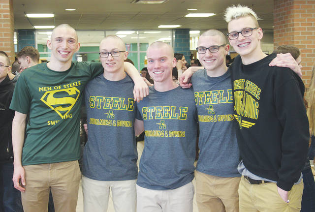 Swimmers Jake Kiska, Kevin Heyd, Sam Parker, Max Mlincek, and Nathan Moore prepare to depart for this year's state competition in Canton.