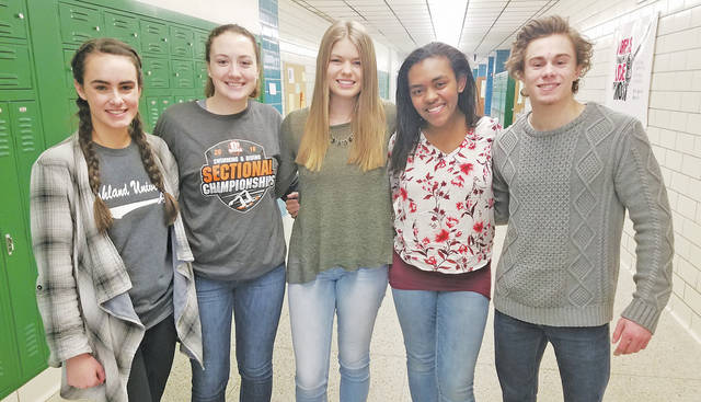 Rhyan Opel, Emma Kelley, Makayla Schreiber, Melina Martinez, and Nick Tipper are all former students of Amherst teacher Todd Engle, who is battling cancer.