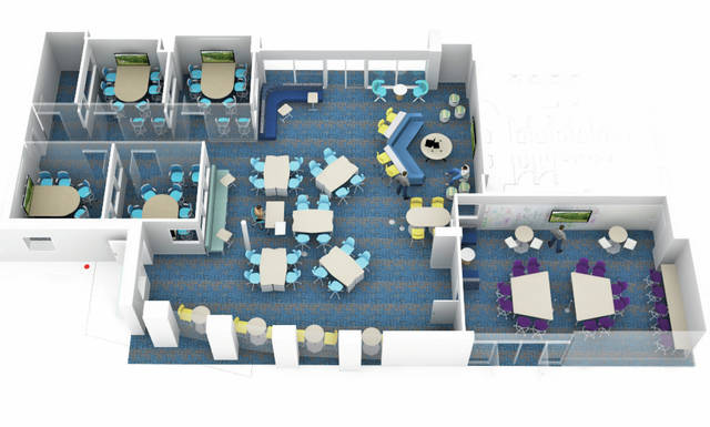This rendering shows what the new Amherst Junior High School creative learning center will look like.