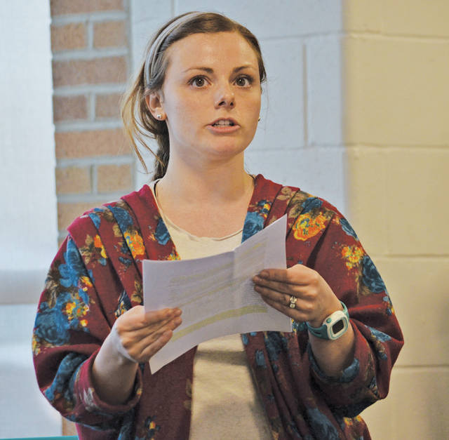 """Joanne Carnabuci, a guidance counselor at Amherst Junior High, tells school board members how """"mindfulness"""" is helping kids calm down, treat each other better, and improve grades."""