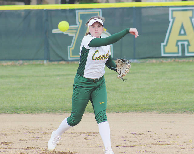 Shortstop Kasey McGraw fires a throw to first base April 5 during a 4-2 loss to Olmsted Falls.
