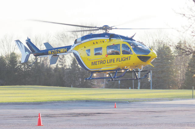 Cleveland Metro LifeFlight provides a landing safety zone demonstration April 19 at the Lorain County JVS.