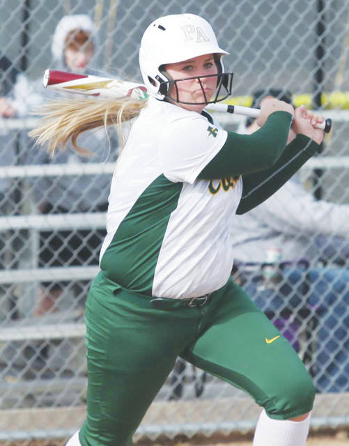 Madison O'Berg makes contact March 26 during Amherst Steele's season opener versus Keystone.