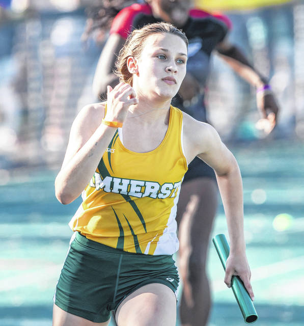 Tori Kubasak achors the 200-meter relay. The Comets team will compete next week at the state meet.