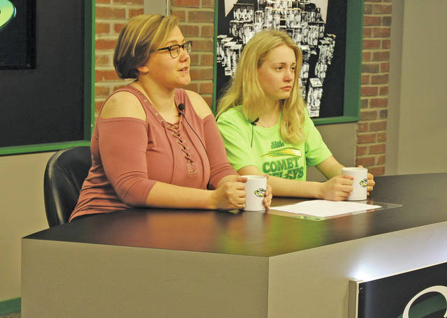 Allison Quickle and Sarah Bloom rehearse for the Steele News Live broadcast.