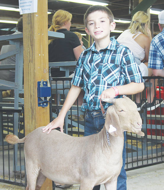 Brody Schlechter of Oberlin shows off his goat, Chase.