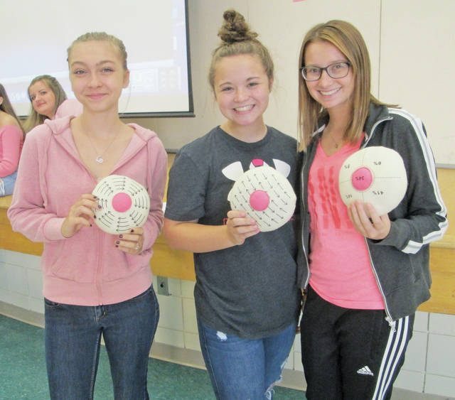 Medical health technology students Lauren Hiteshew, Bailey Smith, and Ava Gordon demonstrate how to do a breast self-exam.