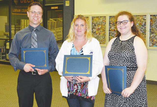Hampson Family Foundation Scholarship recipients are John Toman, Ashley Erb, and Chelsea Otero. They each received $500.