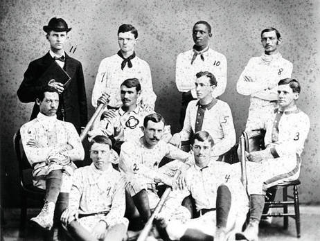 Moses Fleetwood Walker, seen here at the far left and marked as number six, played for Oberlin College's first baseball team.