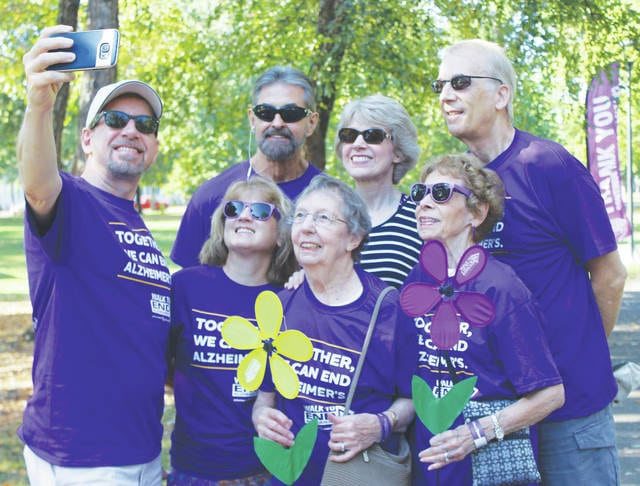 Selfie time! Friends and family gathered on Tappan Square to rally in support of Alzheimer's patients and research.