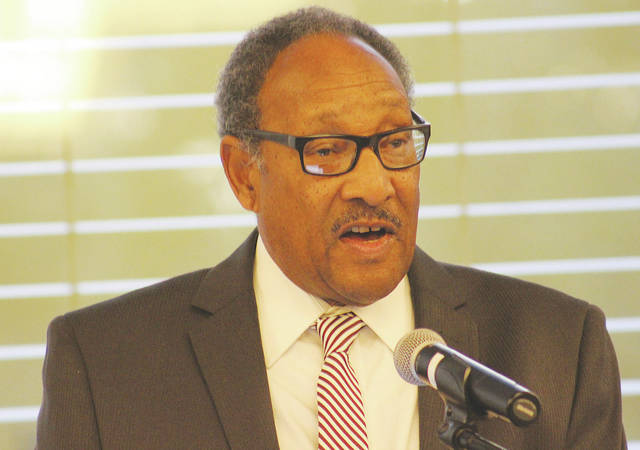 William Robinson, a prominent civil rights movement litigator and founding dean of the District of Columbia School of Law, speaks Saturday during the Oberlin NAACP's 100th anniversary banquet.