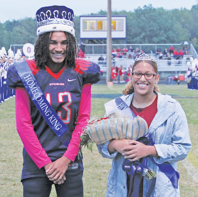 Marcquis Aguniga Moore and Cameron Payne are crowned the 2017 Oberlin homecoming king and queen at Friday's varsity football game.