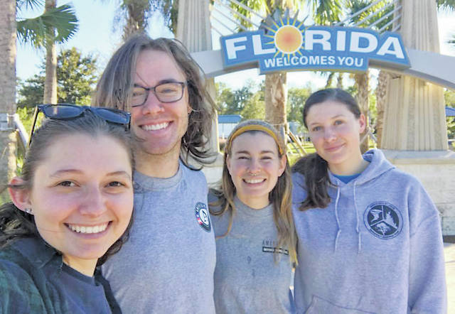 Oberlin native Sarah Prill's AmeriCorps team is shown on its deployment in Florida.