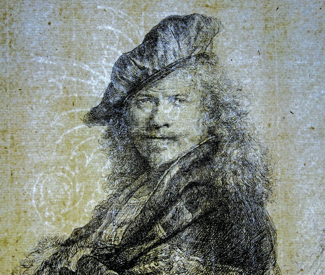 This print is a self-portrait by Rembrandt, the famous 17th century Dutch artist whose works have captivated the public for centuries.