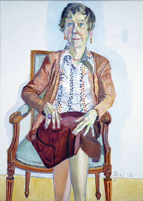 """Alice Neel's 1976 """"Portrait of Ellen Johnson"""" is on view through May 27 in the exhibition """"This Is Your Art: The Legacy of Ellen Johnson,"""" at the Allen Memorial Art Museum."""