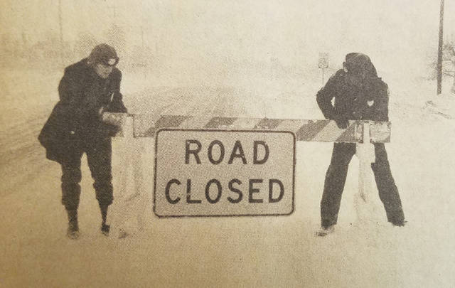 "From the front page of the Oberlin News-Tribune on Feb. 2, 1978: Road closures abounded around town as folks dealt with the ""White Hurricane."""