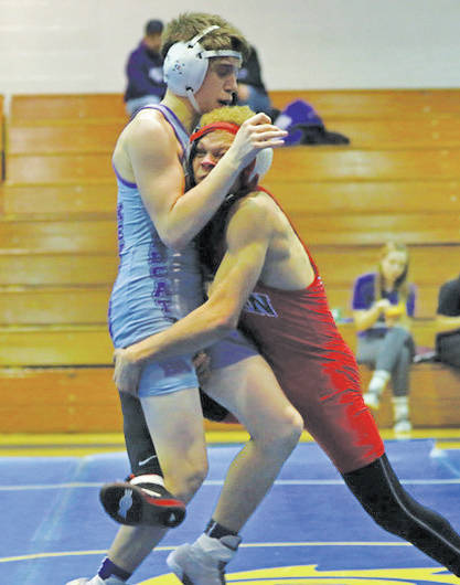 Robert Bouchonville scores a takedown in last week's Stars division dual meet against Firelands and Keystone.