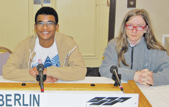 The academic team from Oberlin High School was represented by Elias Bullock and Nicholas Bertoni. They were heard on the Scholastic Games quiz on WEOL AM 930.