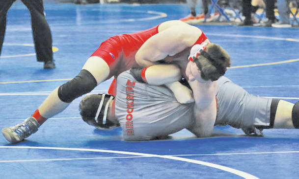 Riley Horning scores near fall points in his 16-0 victory this weekend.