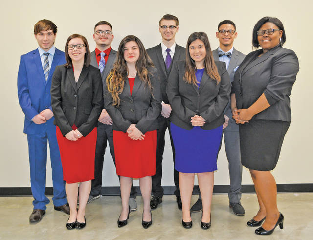 Senior marketing and management students include (back row) Jacob Honaker, Nicolas Hoon, Alan Johnson, Jacob Kuzak, (front row) Sydney Sexton, Chelsea Wojtylo, Grace McClintock, and Tyria Dower.