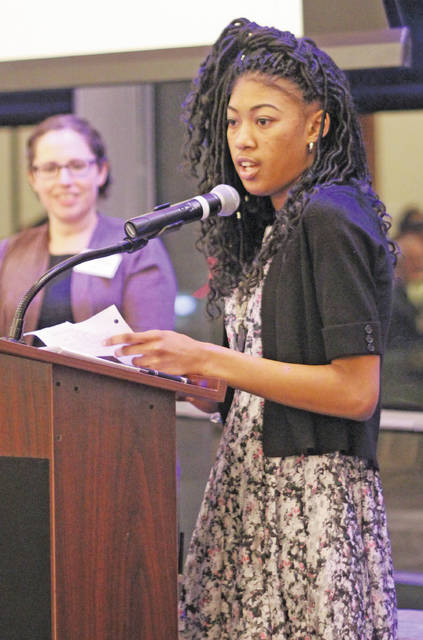 Zaria Amerson was presented with the Youth Community Service Award for her enthusiasm as an Oberlin Heritage Center camp counselor.