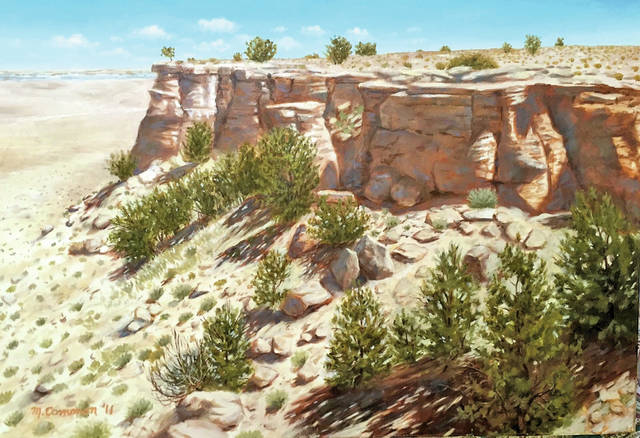 """""""While my paintings are naturalistic, they are purposely painted in a non-photorealistic style,"""" said Mark Common. """"I attempt to render the scene with sufficient visual reality that viewers can imagine themselves there – feel the wind, hear the water, or imagine what's around the next bend on the path. And while I want my work to be naturalistic, I also want evidence of the art process in clearly visible brush strokes."""""""