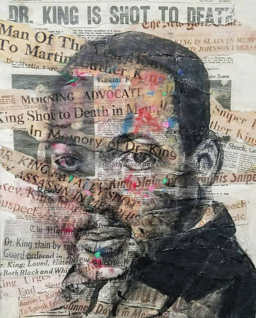 """""""Preservation"""" earned Oberlin High School junior Maya Schane honors in the regional Scholastic Art show and a trip to New York City. It focuses on the media's view of the assassination of Martin Luther King Jr. and its role in preserving history."""