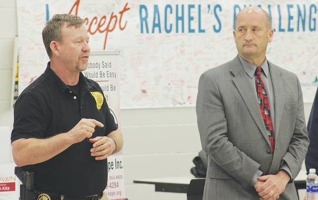 A needle exchange program that will likely open this summer in Wellington is introduced May 3 by police chief Tim Barfield and Lorain County Public Health commissioner David Covell.