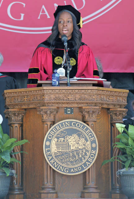 Carmen Ambar, president of Oberlin College, addresses her first graduating class Monday on Tappan Square.